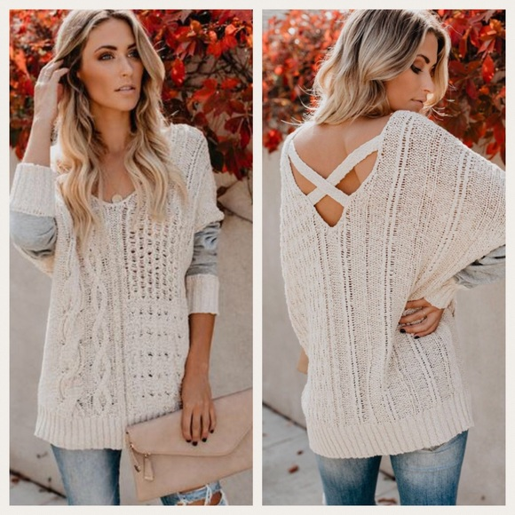 126f7ed68a7211 Sweaters | Nwt Criss Cross Back Cable Knit Contrast Sweater | Poshmark